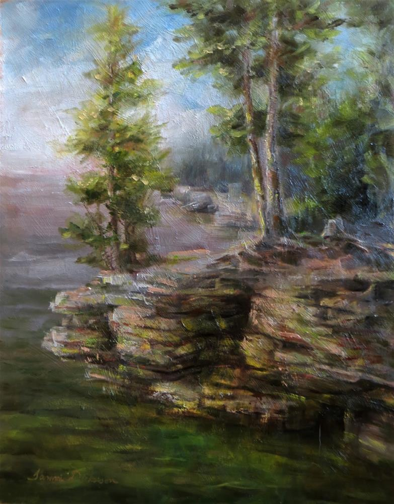 """Morning at Cave Point"" original fine art by Tammie Dickerson"