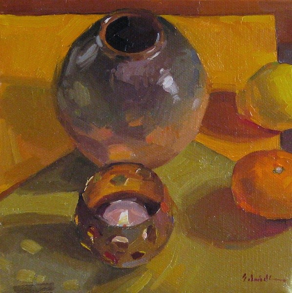 """Candlelit Quartet still life daily painting candle flame original oil on canvas"" original fine art by Sarah Sedwick"