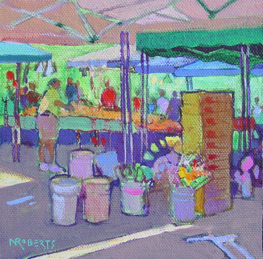 """Buckets and Boxes"" original fine art by Nancy Roberts"