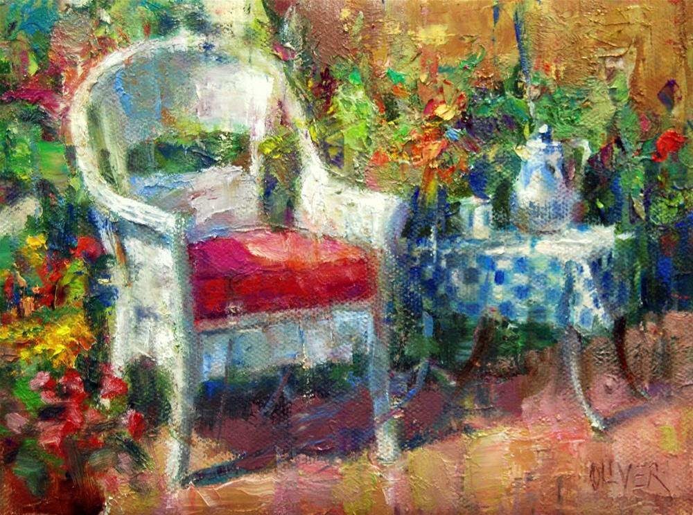 """Refreshments In The Garden"" original fine art by Julie Ford Oliver"