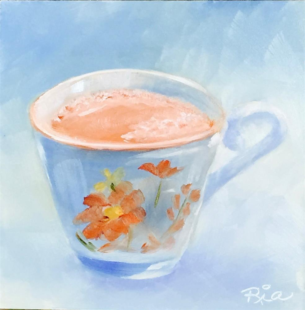 """Jessica's Tea Break"" original fine art by Maria Reed"
