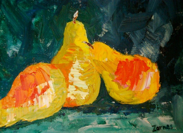 """Abstract Pears"" original fine art by Liz Zornes"