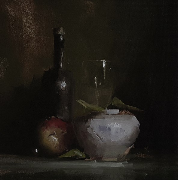 """Apple, Vase and Glass"" original fine art by Neil Carroll"