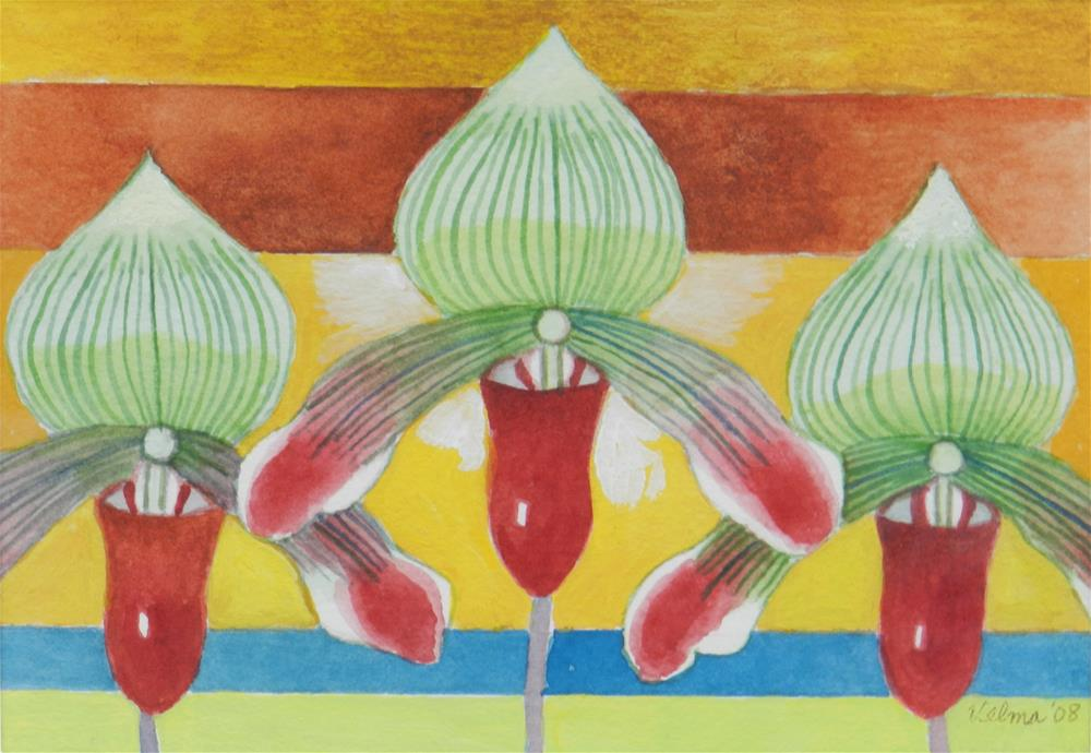 """Three Green and Red Orchids"" original fine art by Velma Davies"