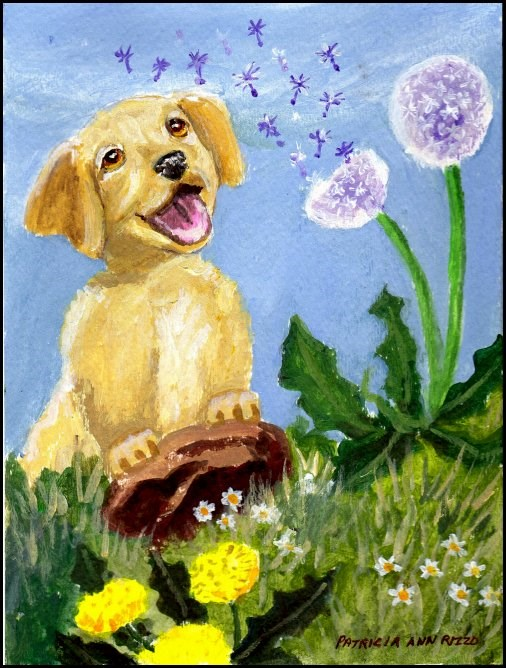 """The Curious Puppy"" original fine art by Patricia Ann Rizzo"
