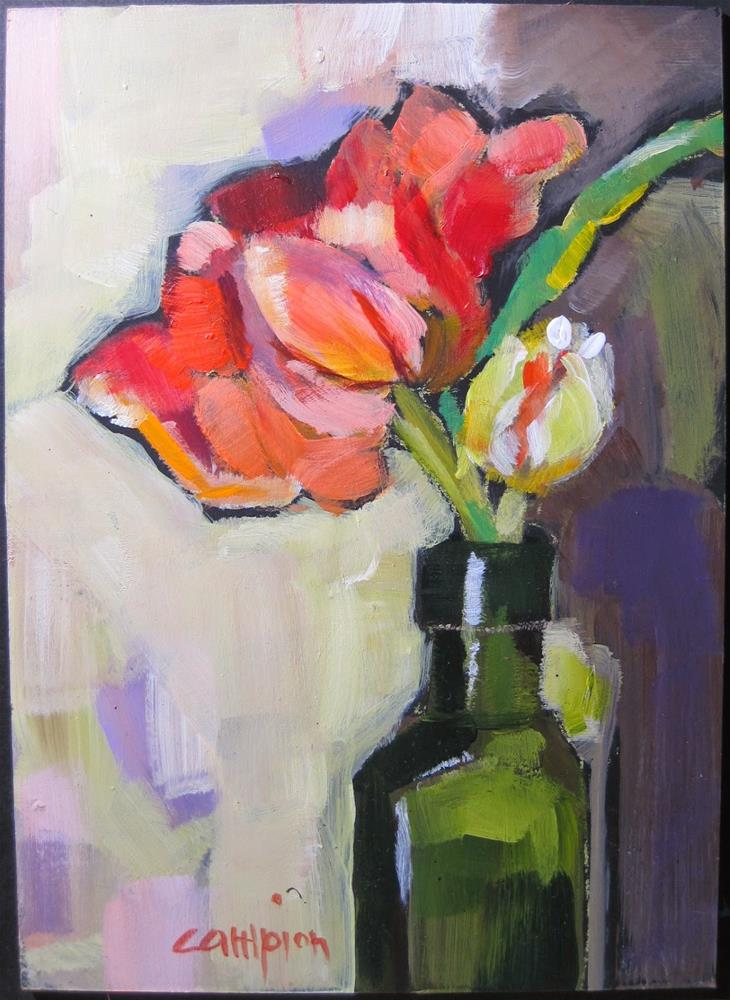 """328. Double Dutch in an Olive Oil Jar"" original fine art by Diane Campion"