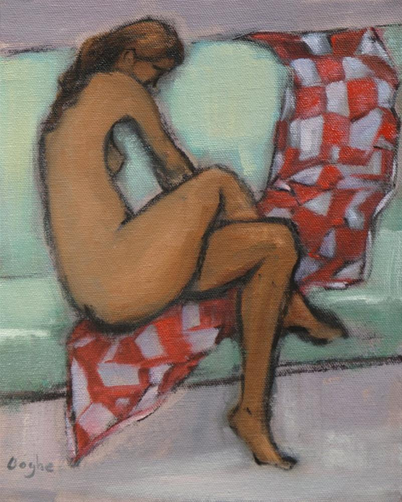 """Nude with Red and White Blanket"" original fine art by Angela Ooghe"