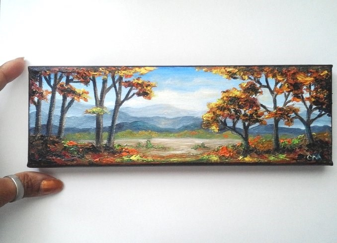 """Fall Trees and Mountains"" original fine art by Camille Morgan"