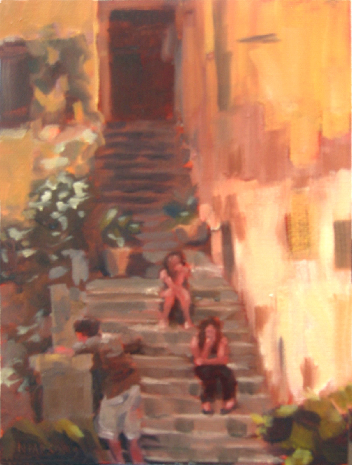 """Italian Stoop Sitters"" original fine art by Nancy Parsons"