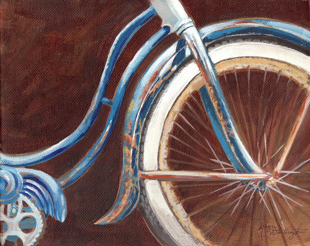 """Rusty Blue Bike"" original fine art by Margie Whittington"