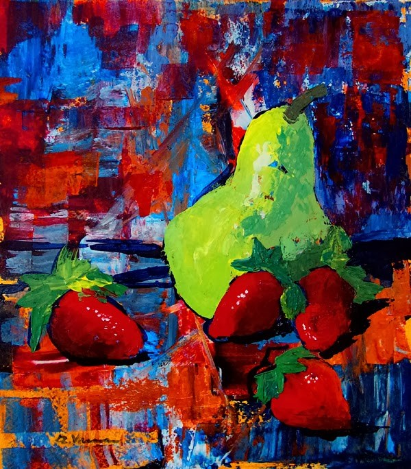 """Abstract with Pear"" original fine art by Anna Vreman"
