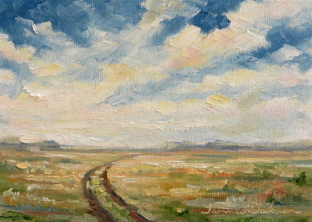"""Clouds Over Prairie Road"" original fine art by Tammie Dickerson"