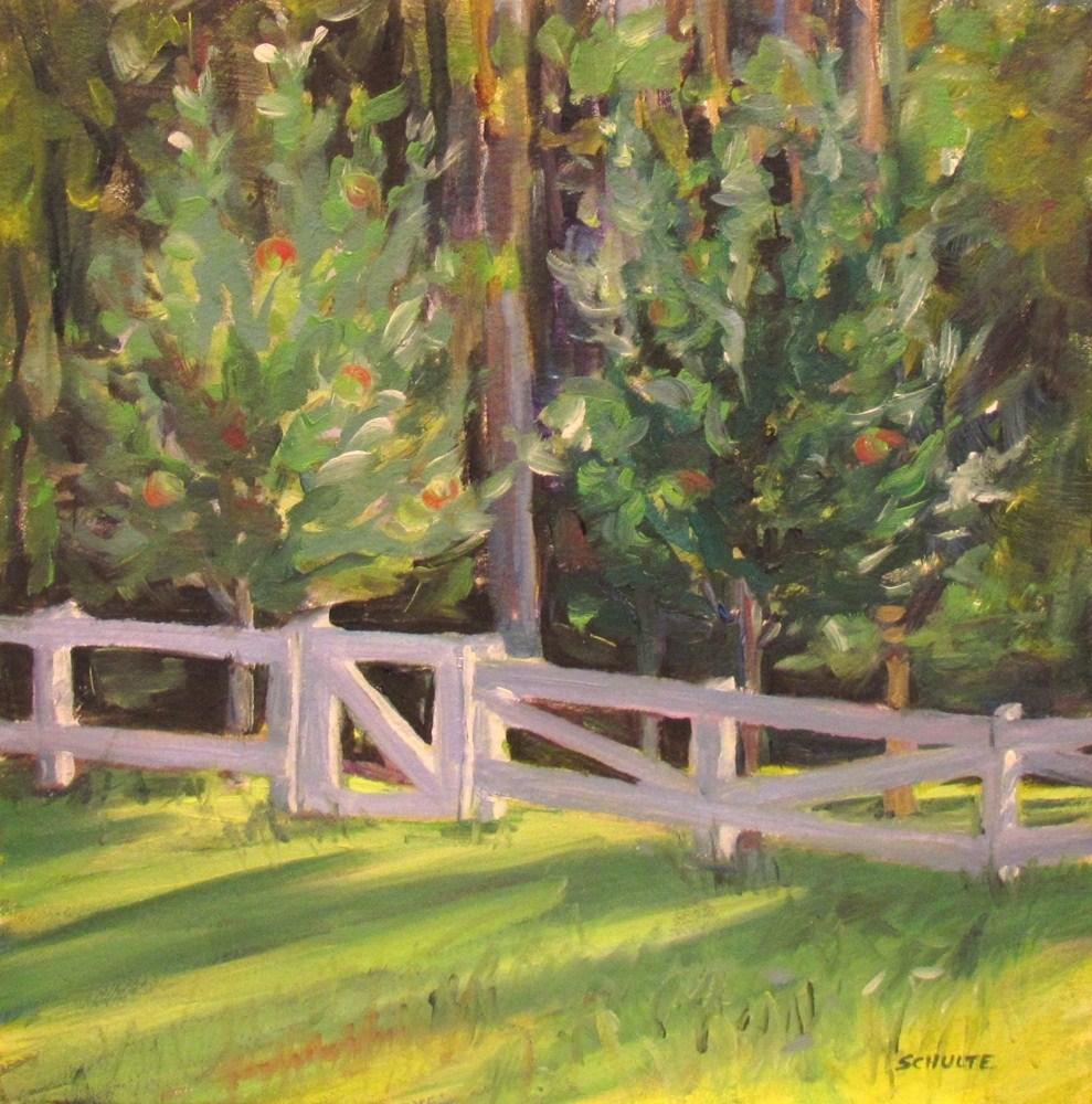 "Framed ""Orchard Gate"" original fine art by Lynne Schulte"