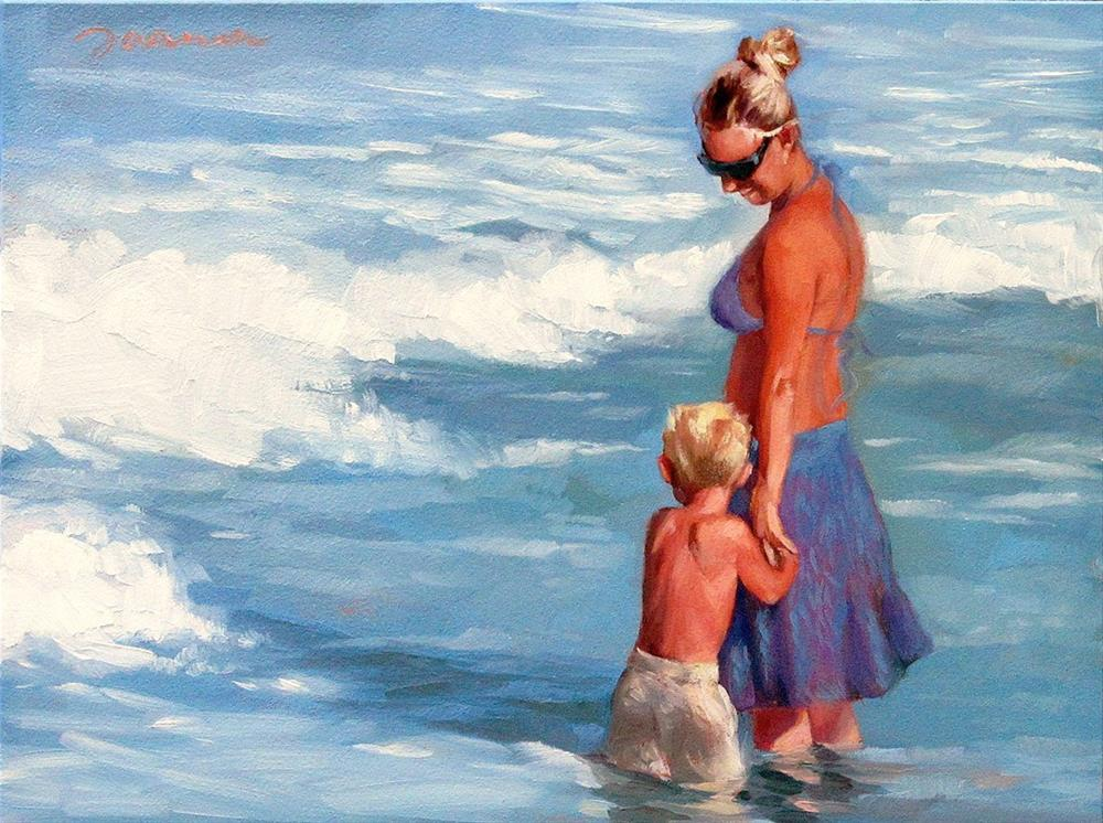 """Under Her Wing--Series Painting of Mother and Child at Beach"" original fine art by Joanna Bingham"