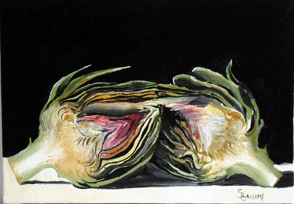 """""""Artichoke Halves"""" original fine art by Sherry Bellamy"""
