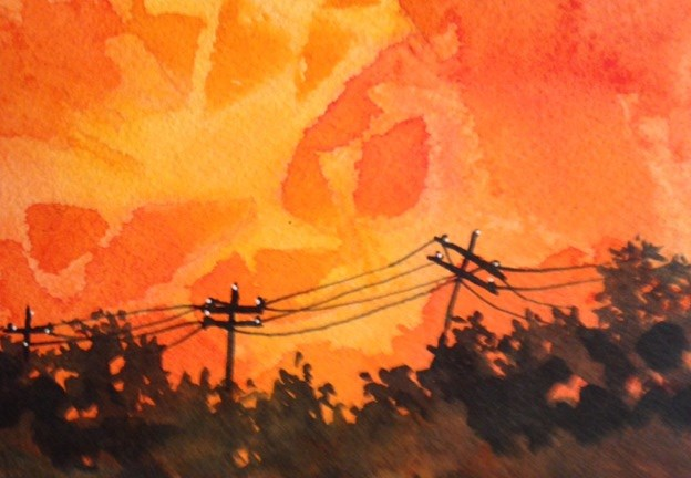 """Telephone Poles"" original fine art by Margie Whittington"