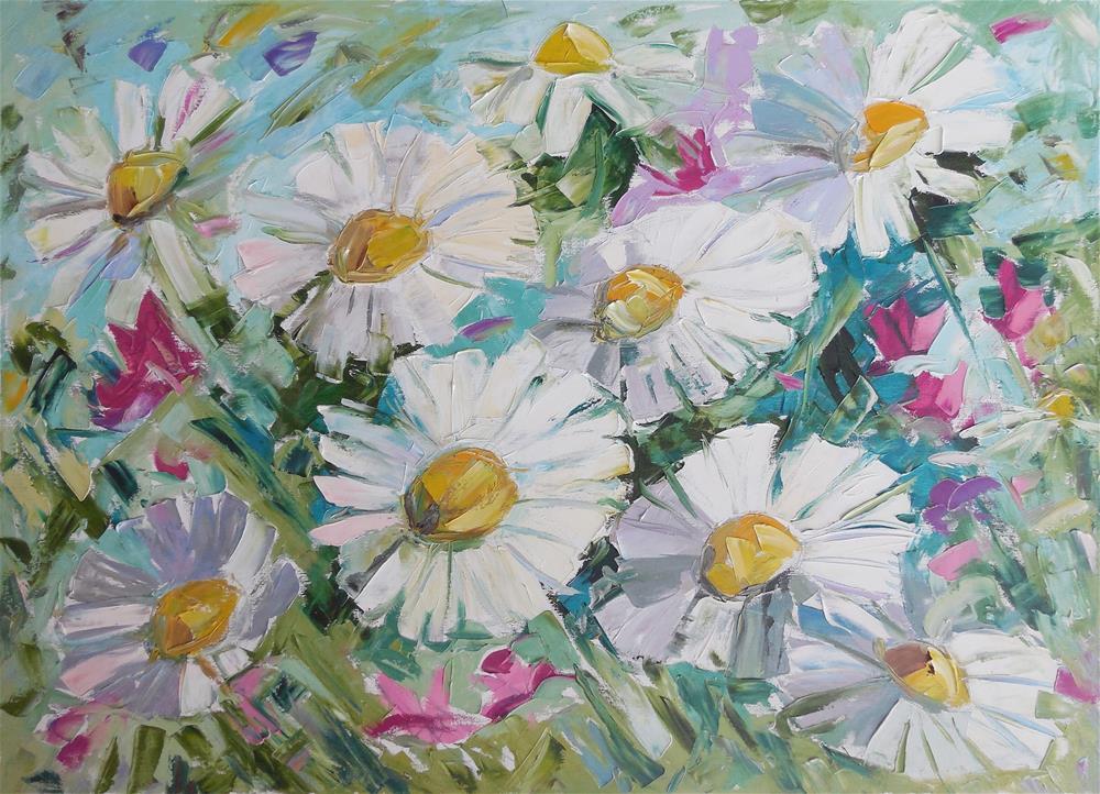 """Chamomiles"" original fine art by Elena Lunetskaya"