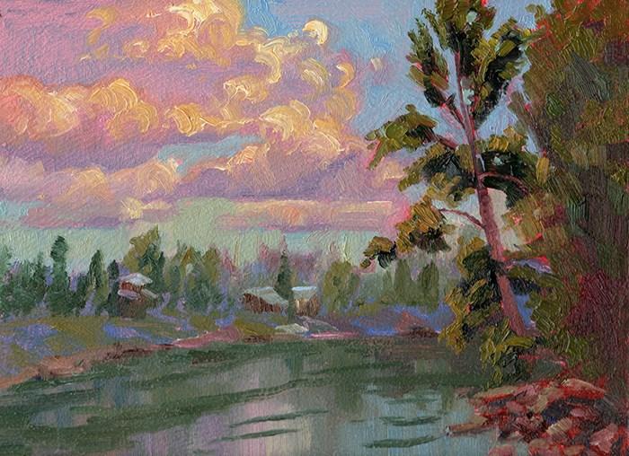 """CLOUDS AND COTTONWOOD"" original fine art by Karen E Lewis"