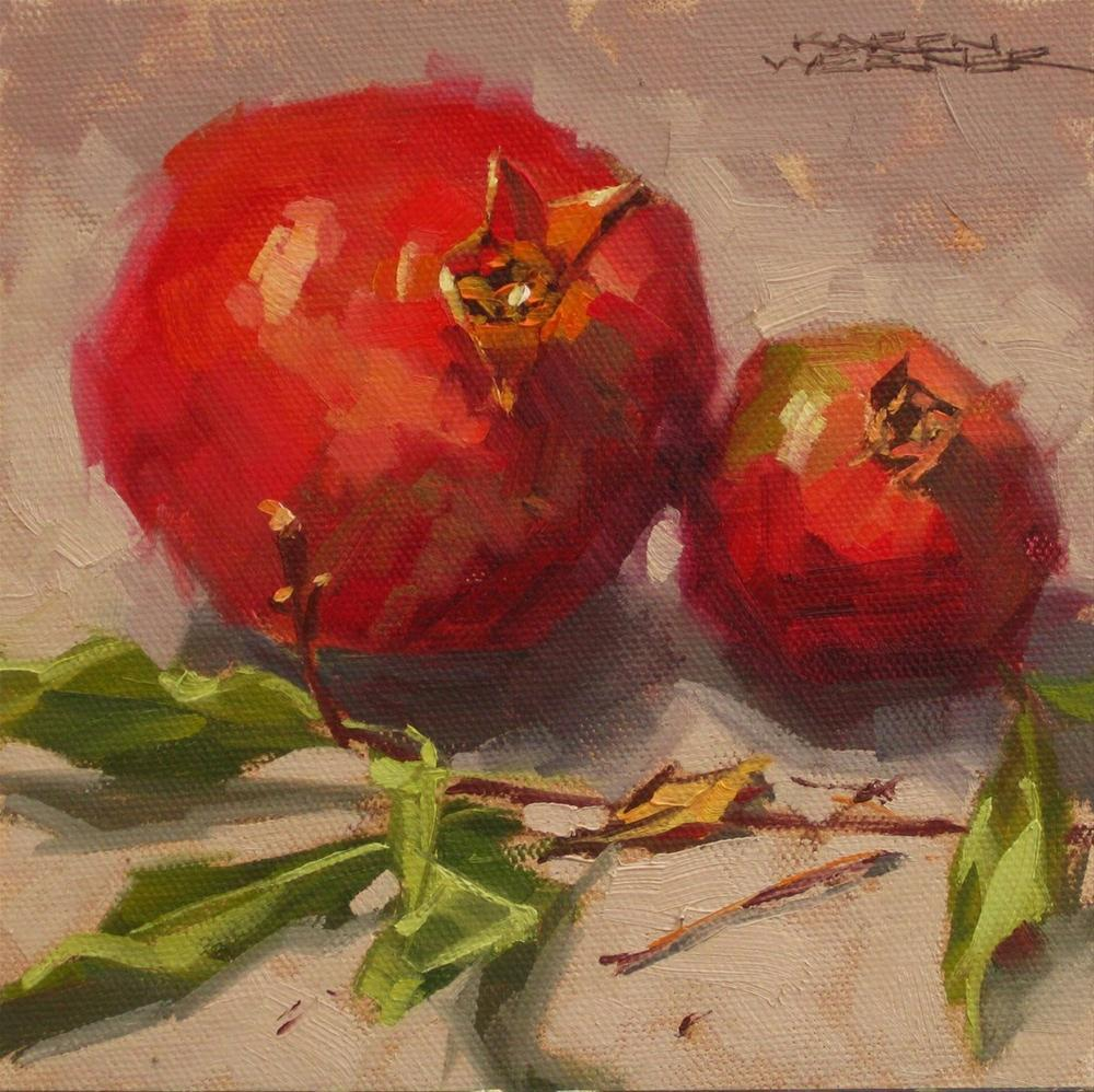 """Twigs & Pomegranates"" original fine art by Karen Werner"