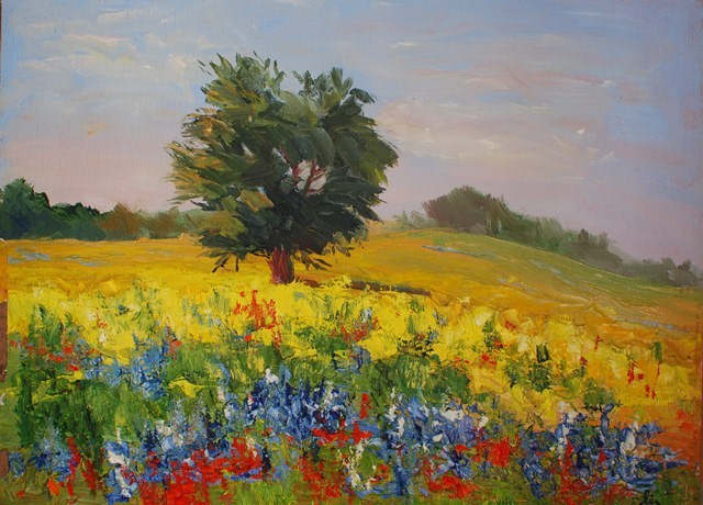 """Live Oak with Wildflowers"" original fine art by Liz Zornes"