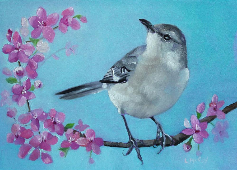 """""""Mockingbird with Spring Blossoms"""" original fine art by Linda McCoy"""