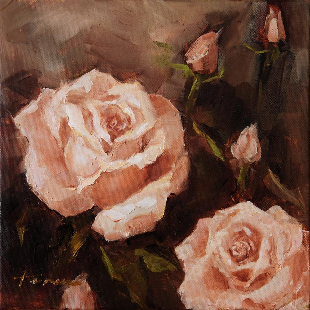 """Peach Rose 01"" original fine art by Teresa Yoo"