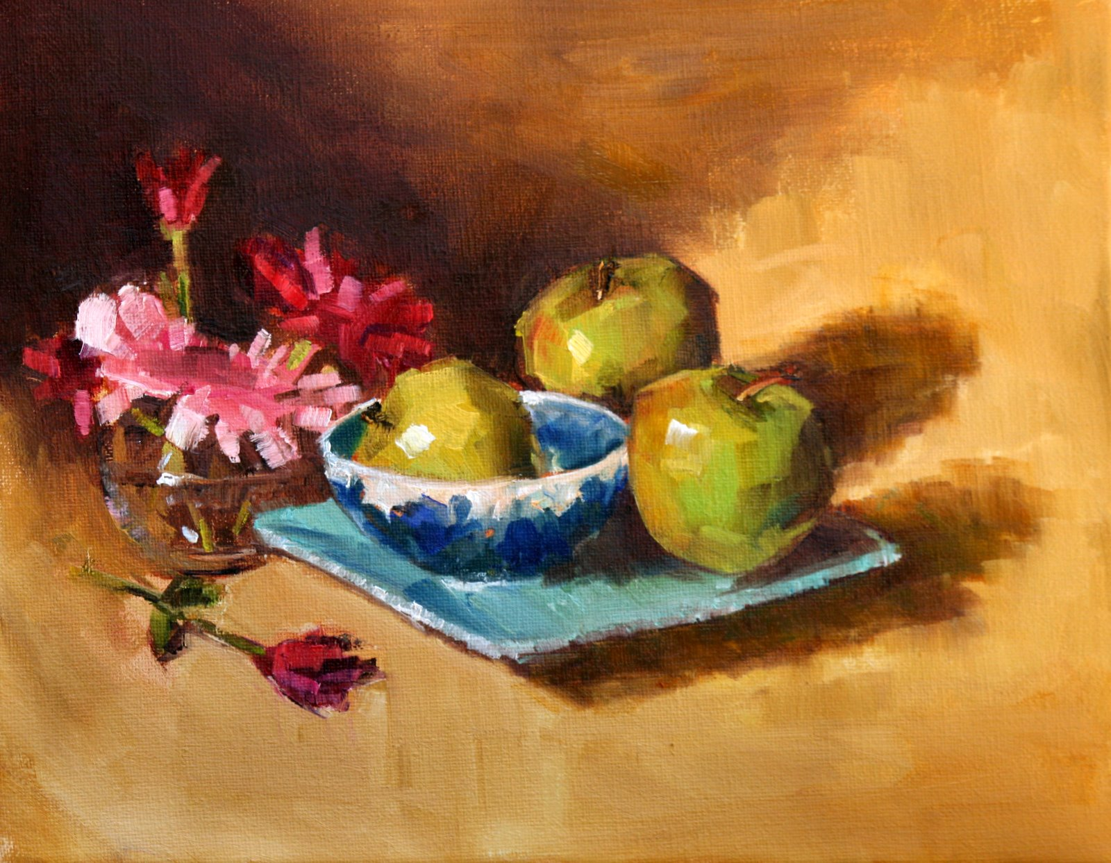 """Green Apples and Pink Flowers"" original fine art by Carol Carmichael"