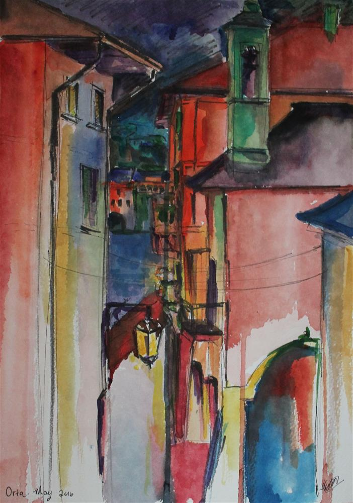 """Lake Orta at Night"" original fine art by Monica Callaghan"