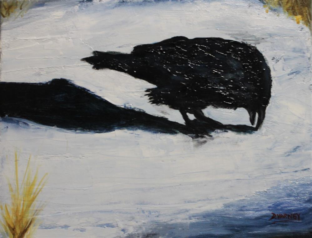 """Raven in Snow"" original fine art by Daniel Varney"