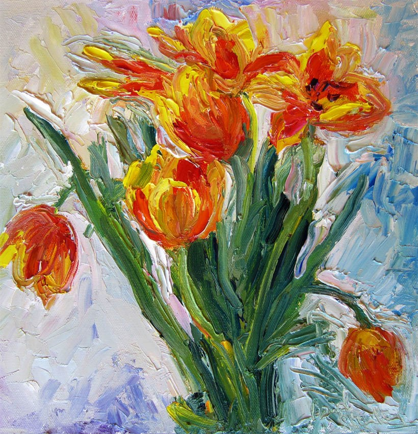 """Flame Tulips, Close Up"" original fine art by Carol Steinberg"