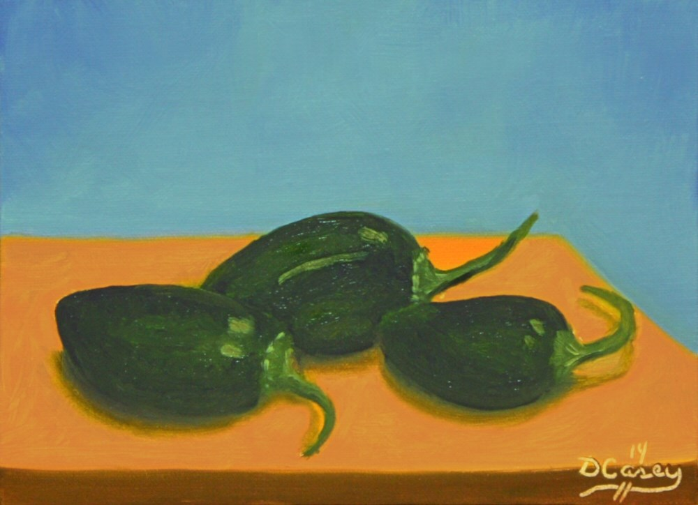"""141123 - Garden Peppers 001a 5x7 oil on linen panel - Dave Casey - TheDailyPainter"" original fine art by Dave Casey"