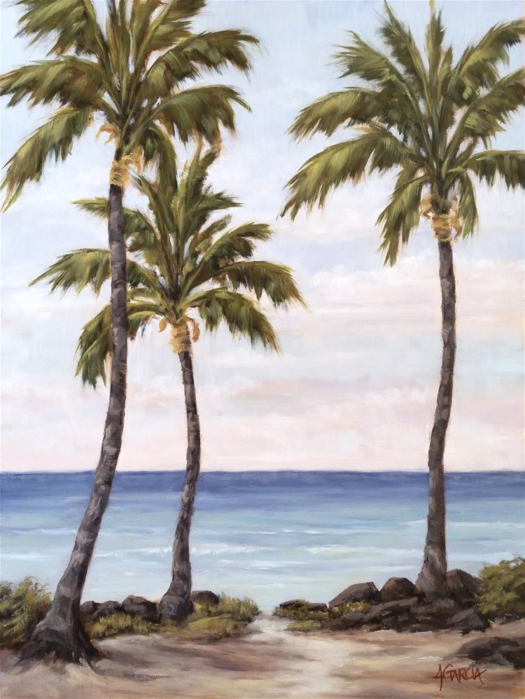 """Three Palms at Honl's"" original fine art by Jeannie Garcia"