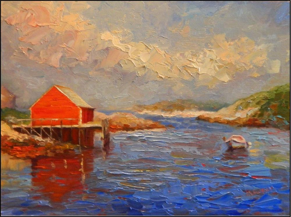 """Calm"", 16x12, oil on linen, by Maryanne Jacobsen, boats, Nova scotia, Peggy's Cove, Halifax, palett original fine art by Maryanne Jacobsen"