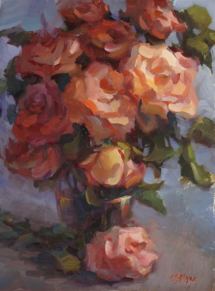 """Coral Roses #2"" original fine art by Carol Myer"
