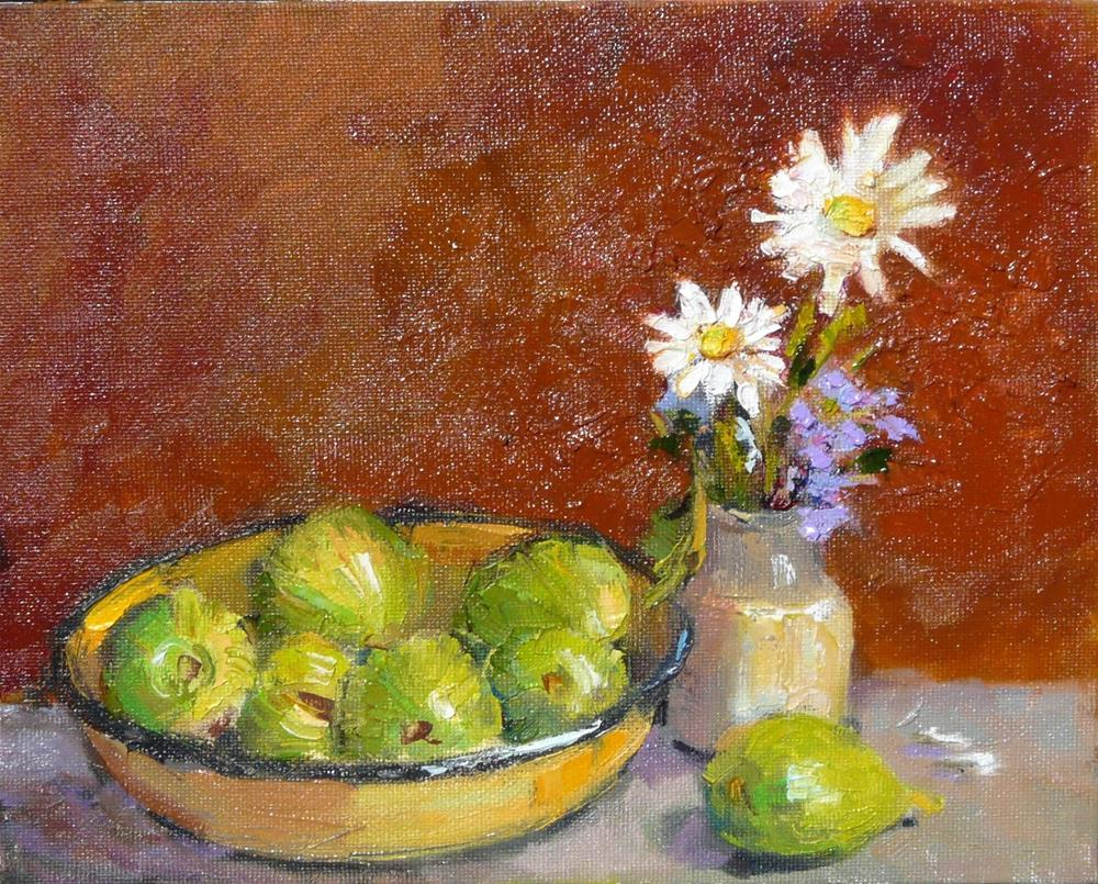 """Garden Figs,still life,oil on canvas,8x10,price$150"" original fine art by Joy Olney"