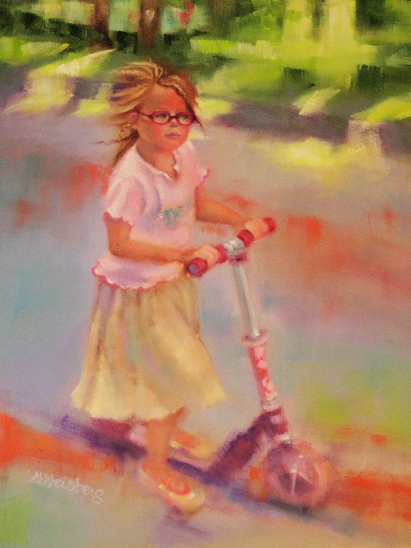 """""""Child Figurative Painting, Little Girl Little Girl with Glasses on A Scooter by Illinois Artist Ma"""" original fine art by marilyn weisberg"""
