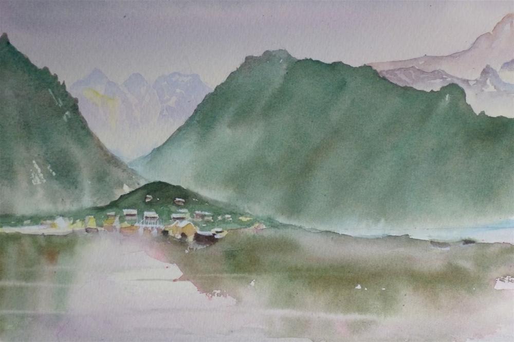 """Sitting on the Fjord - Gudvangen"" original fine art by Peter Wellington"