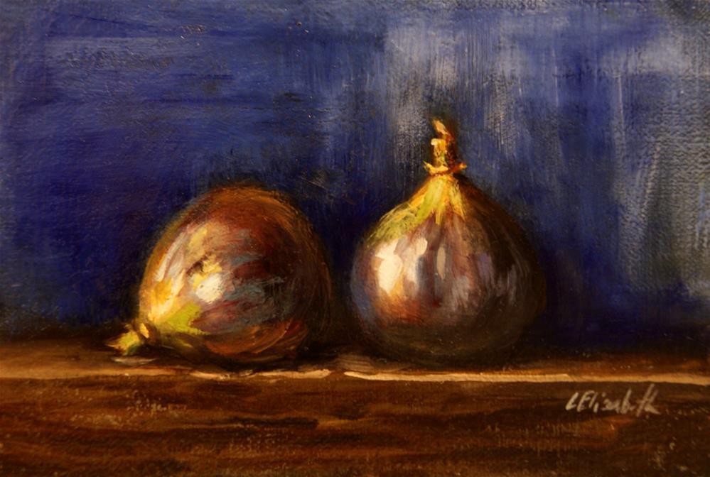 """Still Life with Figs and Cobalt,  Oil on 4x6 Linen Panel"" original fine art by Carolina Elizabeth"