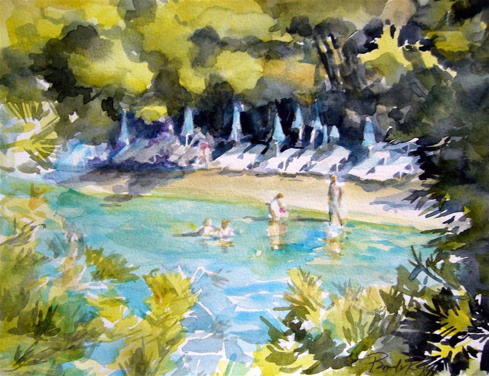 """Love Bay Beach, Poros"" original fine art by Pamela Jane Rogers"