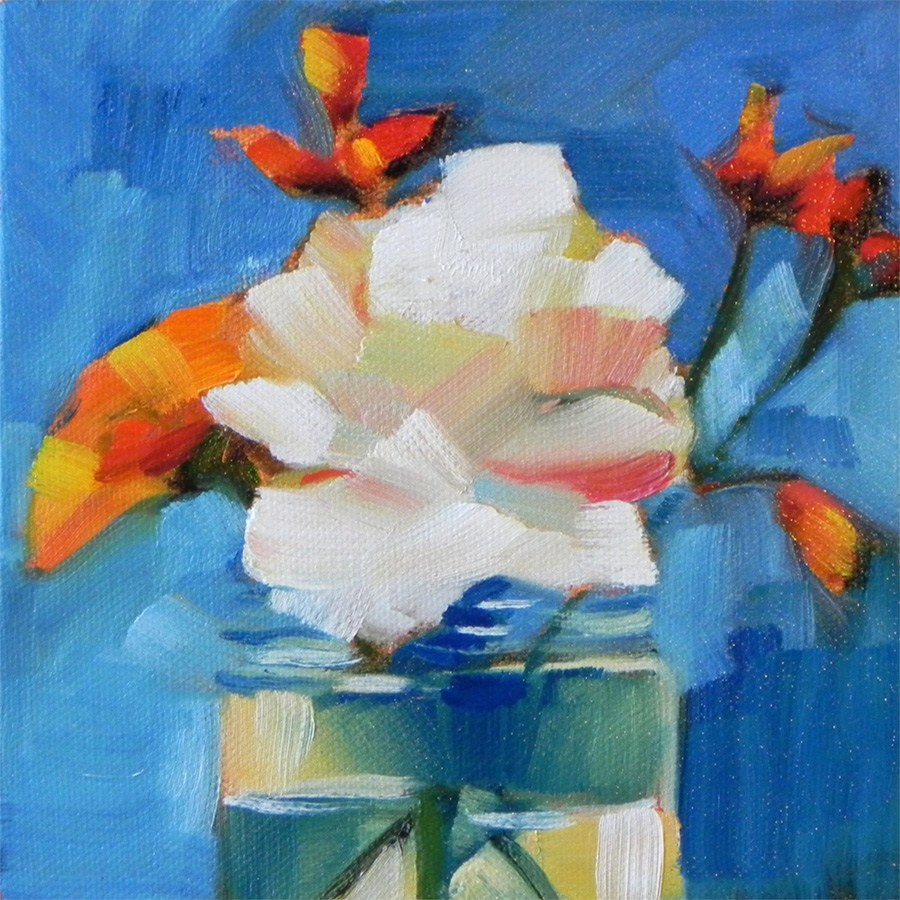 """Flowers in a Jar"" original fine art by Cheryl Wilson"
