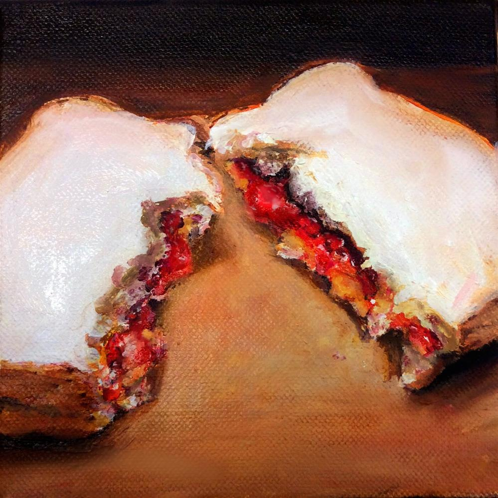 """TORN (PB&J #26 - Peanut Butter & Jelly Sandwich Painting)"" original fine art by Sunny Avocado"