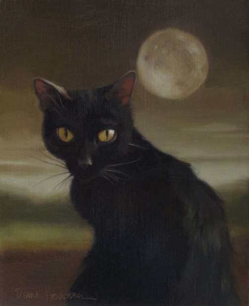 """Black Cat Full Moon"" original fine art by Diane Hoeptner"
