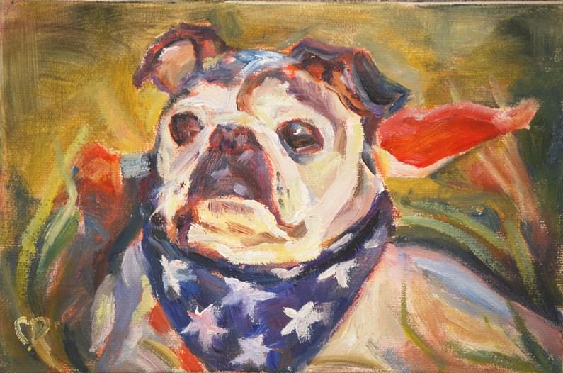 """Patriotic Pooch"" original fine art by Carol DeMumbrum"