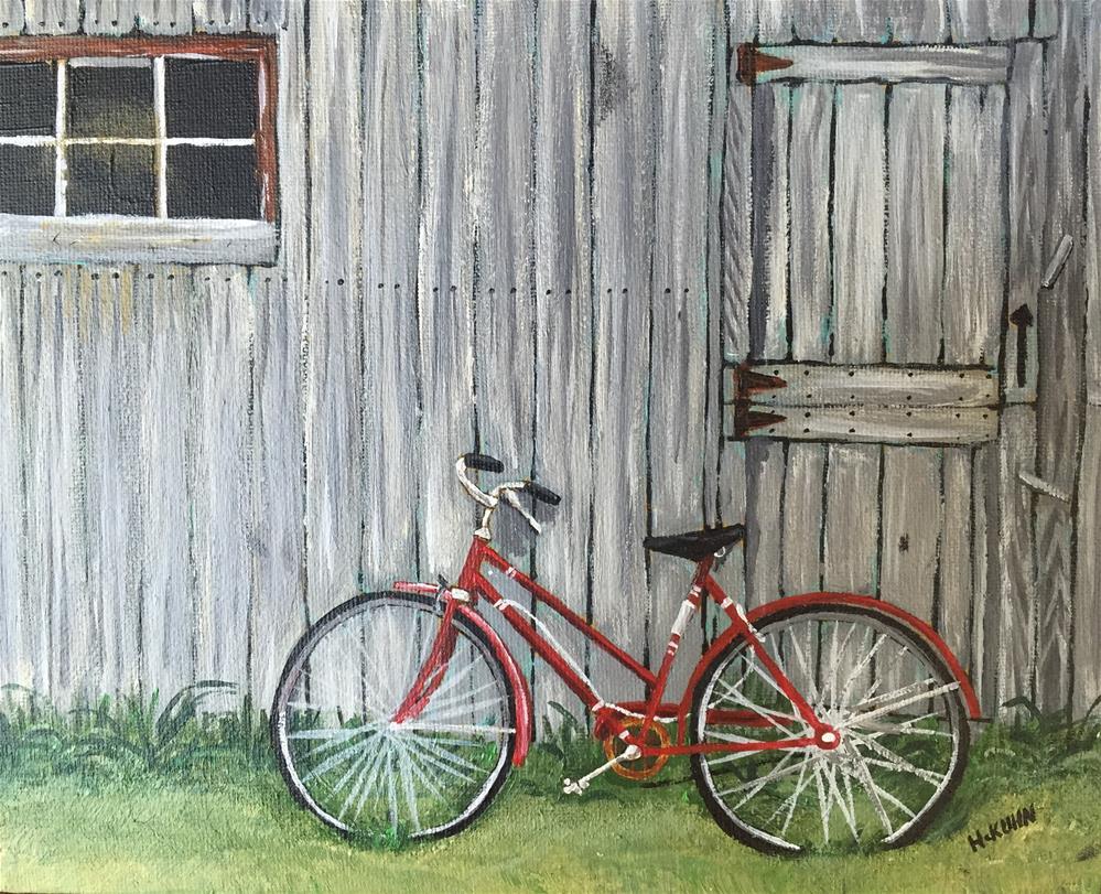 """Bike Stand"" original fine art by Helen Kuhn"