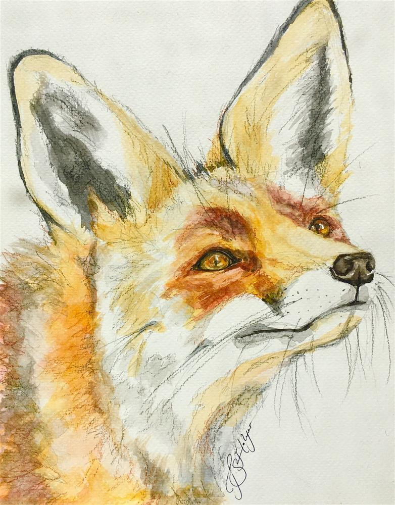 """Fox Looking Up"" original fine art by Jen Holyer"