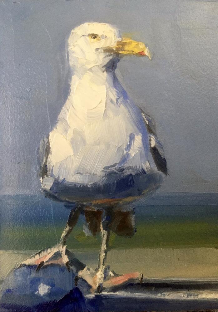 """Seagull by the Sea"" original fine art by Gary Bruton"