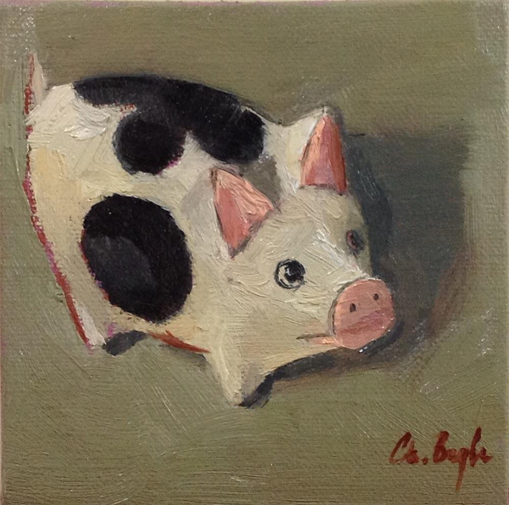 """Paper mache pig"" original fine art by Christine Bayle"