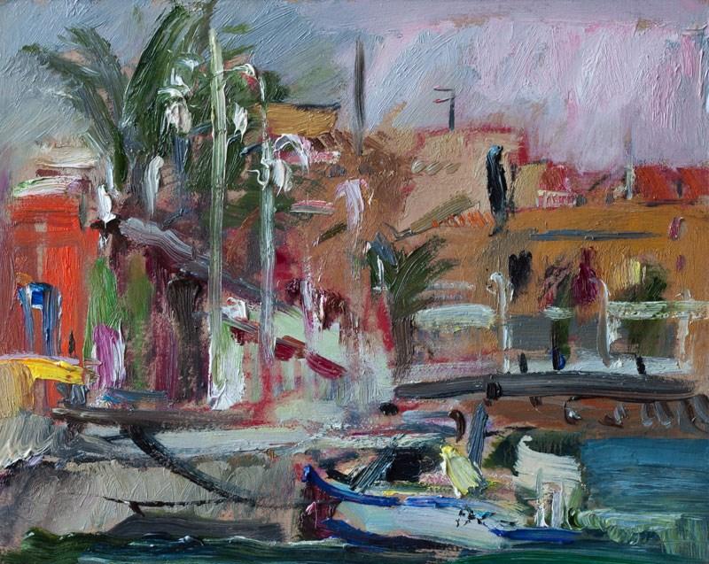 """Pink and Grey Morning Light in Cabo de Palos Marina"" original fine art by Anna  Fine Art"