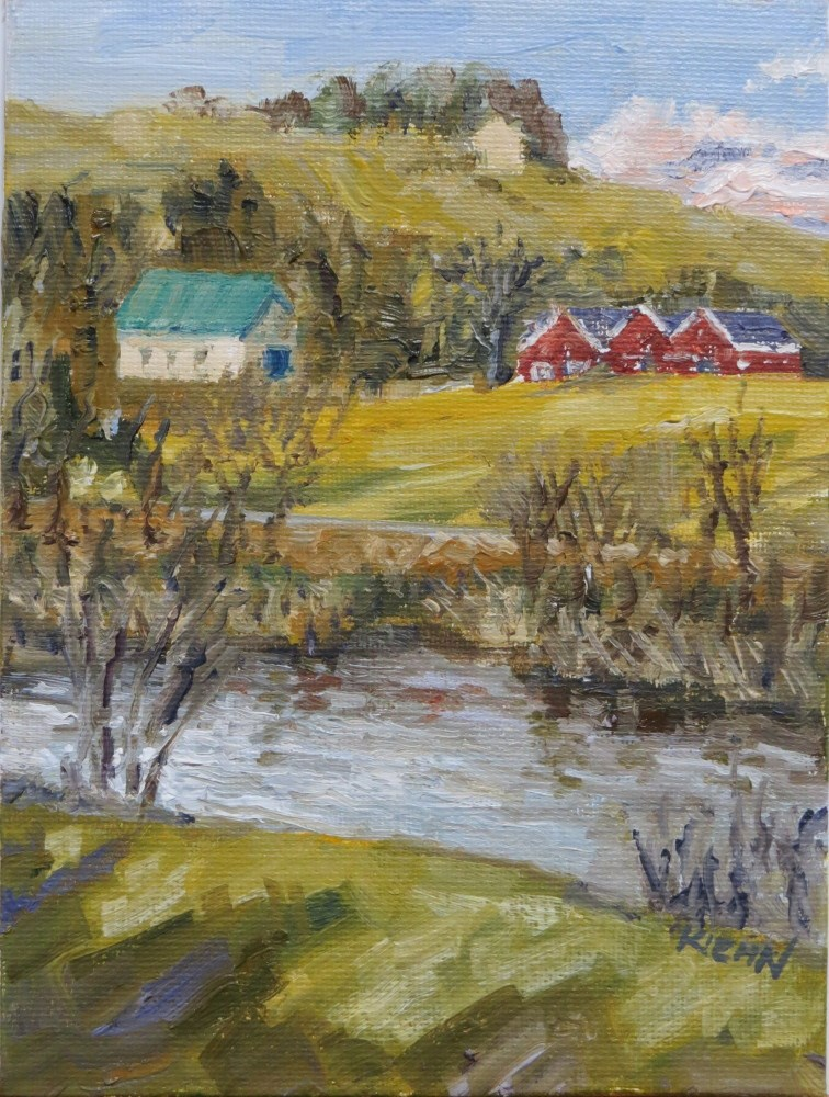"""Farm on the North Umpqua River"" original fine art by Richard Kiehn"