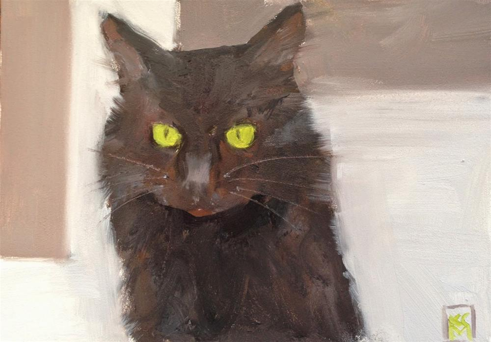 """Good Luck Black Cat, 6x6 Inch Oil Painting by Kelley MacDonald"" original fine art by Kelley MacDonald"